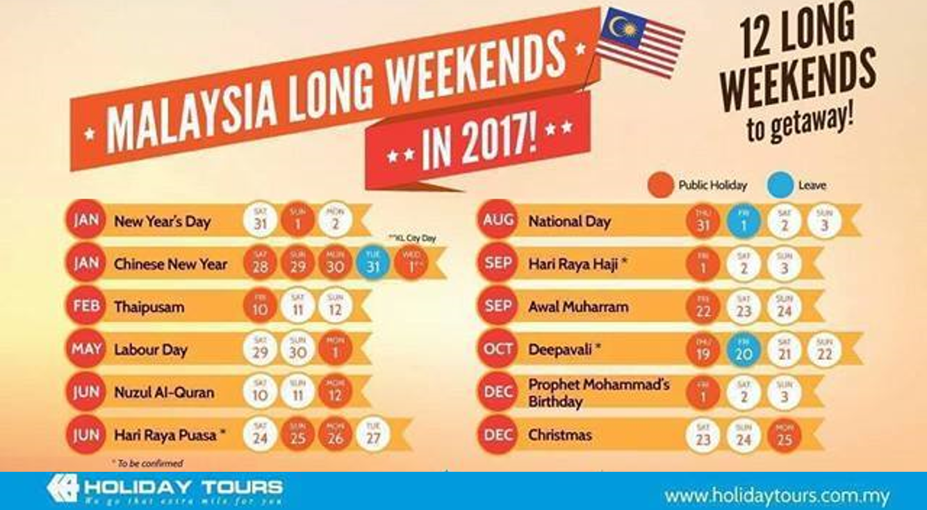 Malaysia's Public Holidays And Long Weekends In 2017